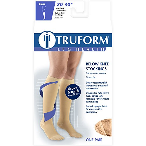 Truform Short Length 20-30 mmHg Compression Stockings for Men and Women, Reduced Length, Closed Toe, Beige, Small