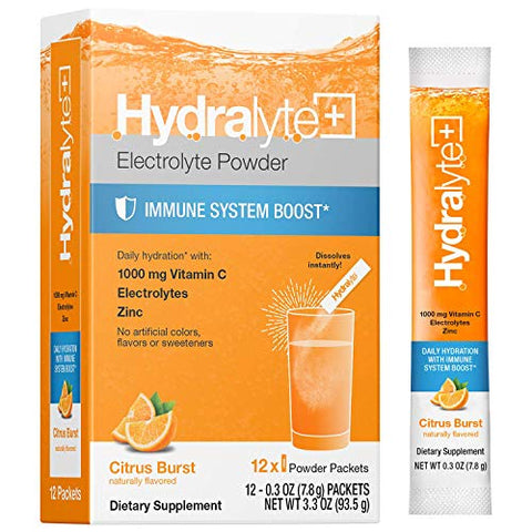 Hydralyte Hydration Plus Immunity Support: 1,000mg Vitamin C, Zinc Plus 7 Key Electrolytes, Electrolyte Powder Packets with Antioxidant Immunity Support, Citrus 12 Count