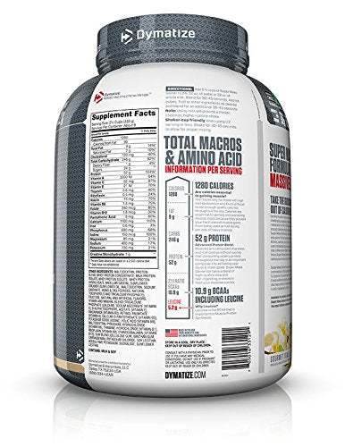 Dymatize Super Mass Gainer Protein Powder, 1280 Calories & 52g Protein, Gain Strength & Size Quickly, 10.7g BCAAs, Mixes Easily, Tastes Delicious, Gourmet Vanilla, 6 lbs