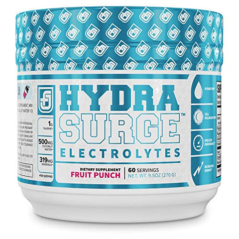 HYDRASURGE Electrolyte Powder - Hydration Supplement with Key Minerals, Himalayan Sea Salt, Coconut Water, More - Keto Friendly, Sugar Free & Naturally Sweetened - 60 Servings, Refreshing Fruit Punch