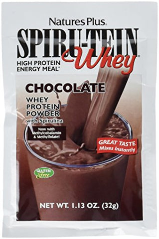 NaturesPlus SPIRU-TEIN Whey Shake - Chocolate - 8 Single Serving Packets, Whey Protein Powder - Meal Replacement With Spirulina, Vitamins & Minerals For Energy - Vegetarian, Gluten-Free - 8 Servings