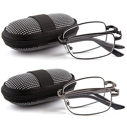 DOUBLETAKE Reading Glasses - 2 Pairs Readers with Belt Loop Zip Case - 1.50