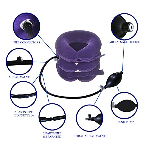 Banglijian Cervical Neck Traction Collar Device Inflatable Pillow Effective and Instant Relief for Chronic Neck and Shoulder Pain with Adjustable Size (Purple)