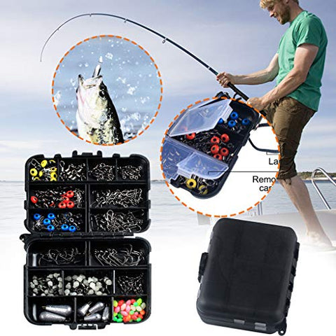 heavKin 177PCS Fishing Accessories Fish Tackle Box Fish Hook Bait Parts Kit Set,Light Weight and Portable (Multicolor, 12x3x9.5cm)