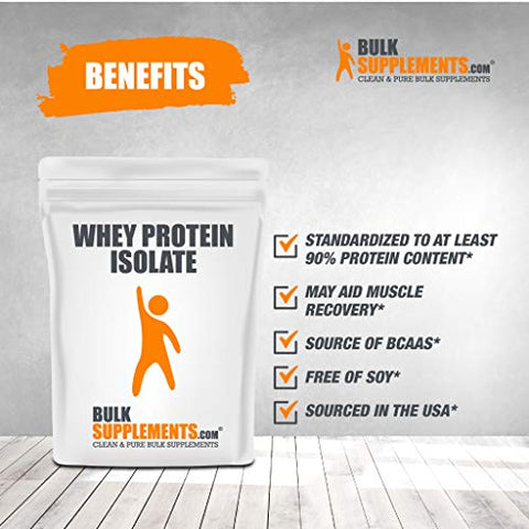 BulkSupplements.com Whey Protein Isolate Powder 90% (1 Kilogram - 2.2 lbs - 33 Servings)