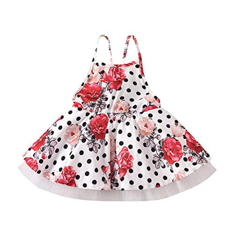 heavKin-Clothes Baby Girls Summer Backless Holiday Wind Skirt Flower/Wave Point Print Tulle Dress,for 1-6T Kids