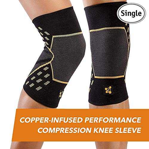 Copper Joint Performance Compression Knee Sleeve   Copper Infused, Promotes Increased Blood Flow To T