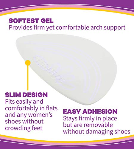 Dr. Scholl's HIDDEN ARCH SUPPORTS for Flats (One Size) // Discreet Supports with Soft Gel Comfortably Support Arches to Prevent Arch Pain often Associated with Flat, Weak, Fallen or High arches
