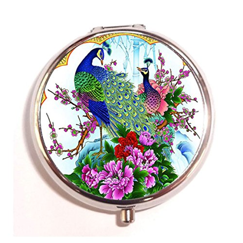 Peacock Fashion Custom Round Pill Box Case Medicine Vitamin Organizer as a Nice Gift