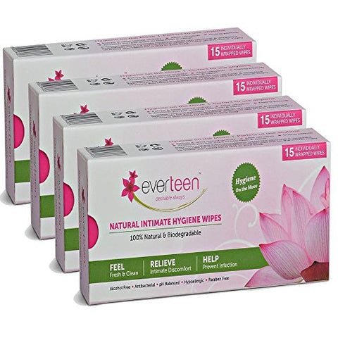 Everteen Natural Feminine Intimate Wipes - 15 Individually Wrapped (Pack of 4) With - HerbalStore_247