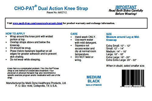 "Cho-Pat Dual Action Knee Strap - Provides Full Mobility & Pain Relief For Weakened Knees - Black (XX-Large, 20""-22"")"