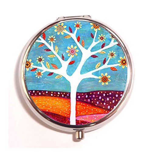 Home tree Fashion Custom Round Pill Box Case Medicine Vitamin Organizer as a Nice Gift