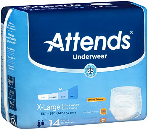 Attends Incontinence Care Underwear for Adults, Extra, XL, 14 Count (Pack of 4)