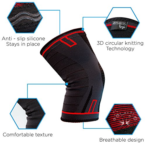 Arthritis Hope Knee Brace (L)   Knee Compression Sleeve For Knee Pain, Running, Weightlifting, Arthri