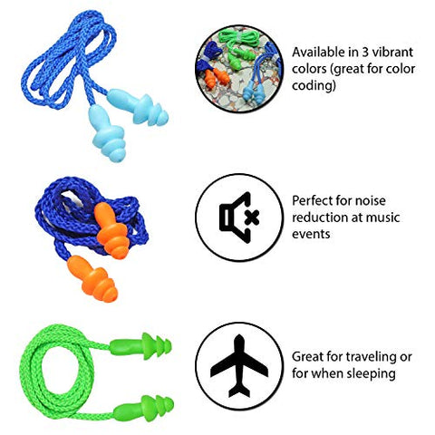 25 Pairs Corded Ear Plugs Soft Silicone Reusable Earplugs Noise Cancelling for Hearing Protection, Sleeping (Green)