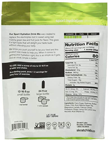 SKRATCH LABS Sport Hydration Drink Mix, Matcha Tea & Lemon (15.5 oz, 20 Servings) - Electrolyte Powder Developed for Athletes and Sports Performance, Gluten Free, Vegan, Kosher