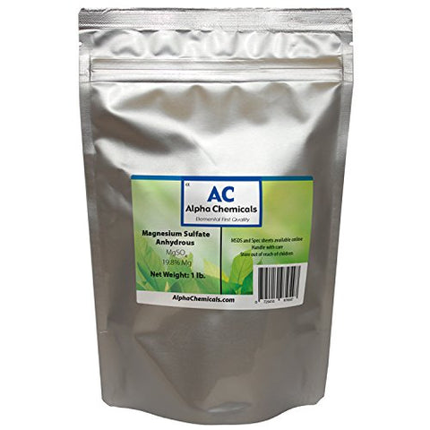 Magnesium Sulfate Anhydrous - 19.8% Mg, 26% Sulfur - 1 Pound
