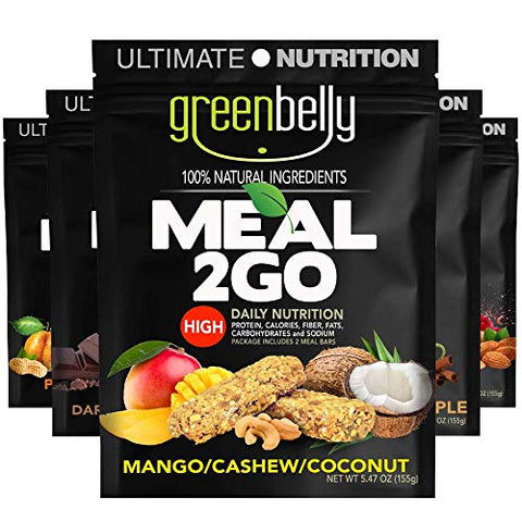 Greenbelly Backpacking Meals -Backpacking Food, Appalachian Trail Food Bars, Ultralight, Non-Cook, High-Calorie, Gluten-Free, Ready-to-Eat, All Natural Meal Bars (Variety, 5 Meals)