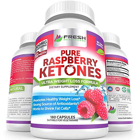 Pure 100% Raspberry Ketones Max 1000mg Per Serving   3 Month Supply   Powerful Weight Loss Supplemen