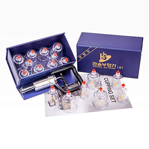 Hansol Professional Cupping Therapy Equipment Set with pumping handle 10 Cups & English Manual (Made in Korea)