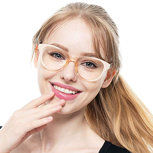 SOOLALA Lovely Hit Color Oversized Clear Lens Eye Glasses Frame Wide Reading Glasses, Tan, 1.75