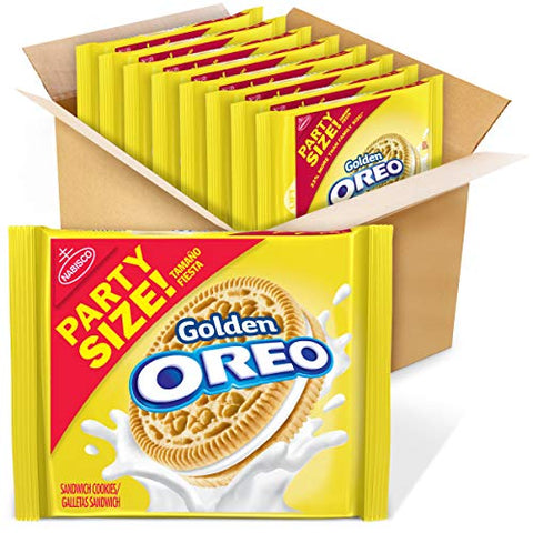 OREO Golden Sandwich Cookies, Vanilla Flavor, 8 Resealable Party Size Packs