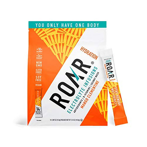 ROAR Electrolyte Infusions Powder Sticks, Healthy Hydration and Hangover Cure, Mango Clementine, Pack of 14 Sticks