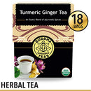 Image of Organic Turmeric Ginger Tea, 18 Bleach Free Tea Bags - Caffeine Free, Antioxidant, Antiviral, and Anti-Inflammatory, Immune Boosting Tea. Supports Digestion, No GMOs