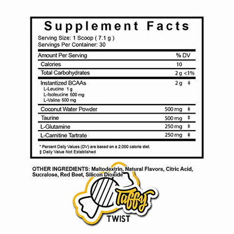 HydroHolic Amino Acids + Coconut Water - 30 Servings - Hydration and BCAAs Powder Drink Mix Supplement, Lemon Shakeup, Fishbowl Punch and Taffy Twist (Taffy Twist)