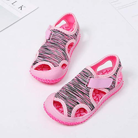 heavKin Girls Boys Sandals Striped Summer Non-Slip Outdoor Beach Baotou Shoes,for 15Months-9.5Years Children's (Pink, 9-9.5Years)