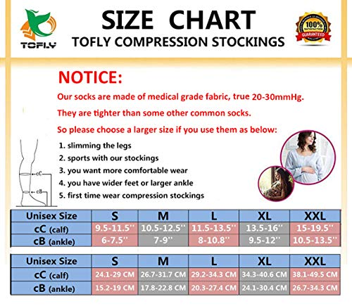Knee High Compression Stockings, TOFLY Firm Support 20-30mmHg Opaque Maternity Pregnancy Compression Socks, Open-Toe, Ankle & Arch Support, Swelling, Varicose Veins, Edema, Beige XXL