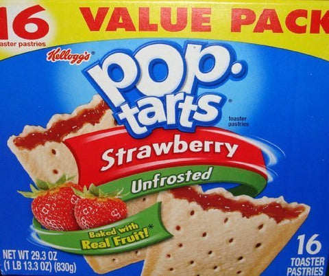 Pop-Tarts Strawberry Unfrosted Toaster Pastries 16 Toaster 29.3 OZ by Pop-Tarts