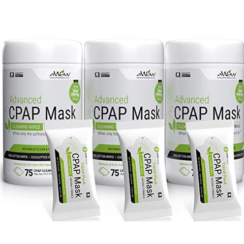 AWOW Professional CPAP Odor Control Advanced Formula, 75 ct 3pk Canister Plus 15 Travel Wipes, (240 Wipes)