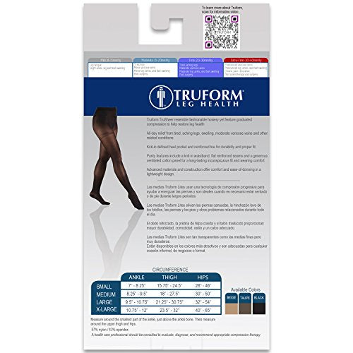 Truform Sheer Compression Pantyhose, 20-30 mmHg, Women's Shaping Tights, 20 Denier, Black, Small