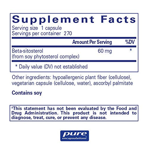 Pure Encapsulations   Beta Sitosterol   Hypoallergenic Supplement To Support Prostate Health   270 C