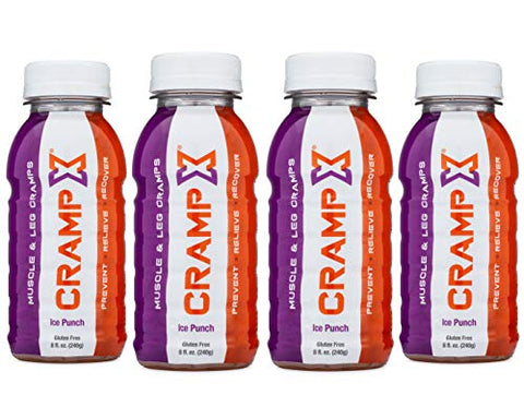 CrampX Muscle Cramp Relief Drink | Proven to Prevent and Treat Muscle Cramps in Seconds | Gluten Free Cramp Defense for Hand Cramps, Leg Cramps, Foot Cramps | Ice Punch 8 oz - Pack of 4'