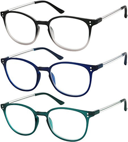 Reading Glasses 3 Pair Stylish Color Readers Fashion Glasses for Reading Men & Women +2