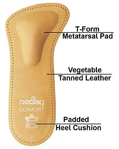 Pedag Comfort German Handmade 3/4 Genuine Leather Orthotic with Metatarsal Arch Support Pad and Heel Cushion, Great for Heels Wear, Tan Color, Women's 7