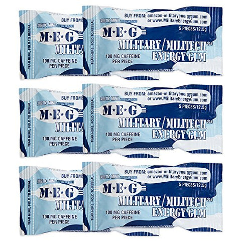 MEG - Military Energy Gum | 100mg of Caffeine Per Piece + Increase Energy + Boost Physical Performance + Arctic Mint 6 Pack (30 Count)