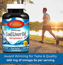 Image of Carlson - Cod Liver Oil, 460 mg Omega-3s, Wild-Caught Norwegian Arctic Cod-Liver Oil, Sustainably Sourced Nordic Fish Oil Capsules, Lemon, 300 Soft Gels