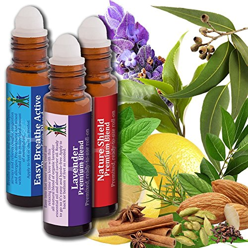 AROMATA Oil Blends, Ready-to-use roll-ons: Nature Shield Immune Boosting Blend, Easy Breezy Active Allergy Fighting, decongesting Blend and Lavender Calm Relaxing, Soothing Blend. 3 Bottles