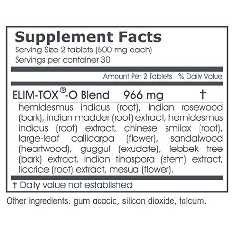 Elim-Tox-O | 60 Herbal Tablets - 500 mg ea. | Gentle Whole Body Detox | Herbal Supplement for Effective Colon Cleanse