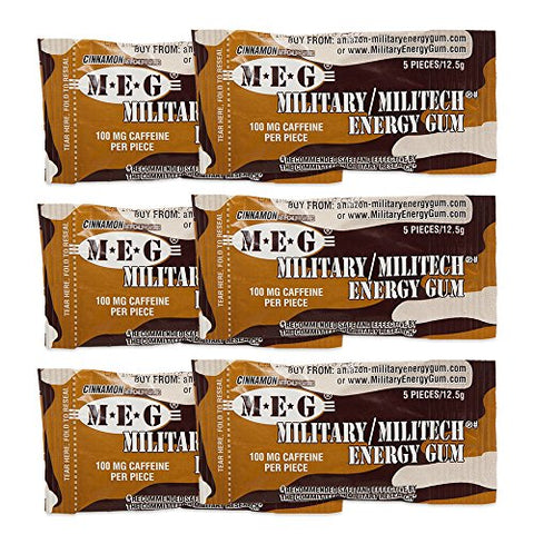 MEG - Military Energy Gum | 100mg of Caffeine Per Piece + Increase Energy + Boost Physical Performance + Cinnamon 6 Pack (30 Count)