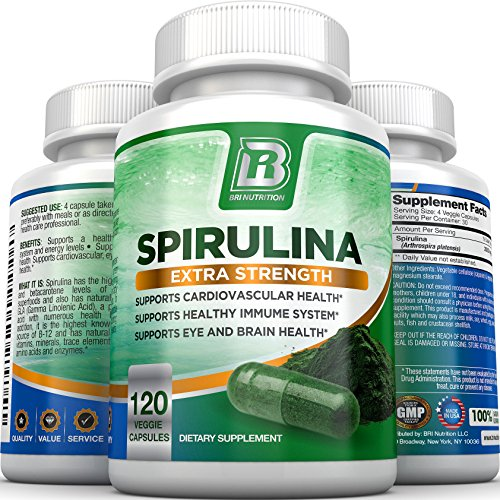 BRI Spirulina 2000mg Maximum Strength Premium Quality Spirulina Superfood Powder, Packed w Antioxidants, Protein and Vitamins in Easy to Swallow Vegetable Cellulose Capsules (120 Count)
