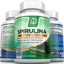 Image of BRI Spirulina 2000mg Maximum Strength Premium Quality Spirulina Superfood Powder, Packed w Antioxidants, Protein and Vitamins in Easy to Swallow Vegetable Cellulose Capsules (120 Count)