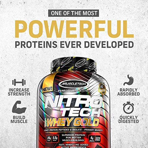 Whey Protein Powder | MuscleTech Nitro-Tech Whey Gold Protein Powder | Whey Protein Isolate Smoothie Mix | Protein Powder for Women & Men | Strawberry Protein Powder, 5.5 lbs (77 Servings)