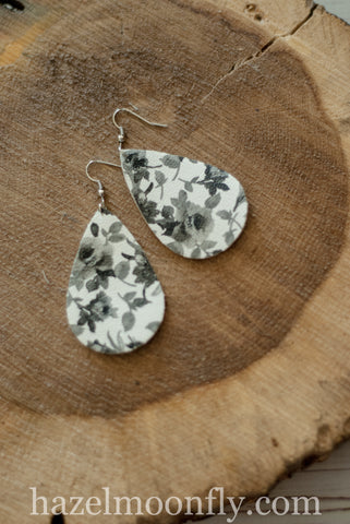 GrayScale Flower PU Leather Earrings