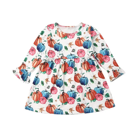 Farm Fresh Pumpkins Print Dress