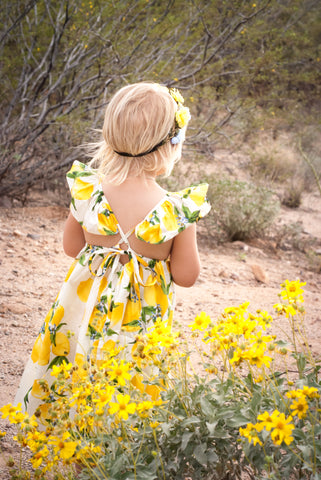 Lemon Sunshine Adjustable Strap Dress *Size 12/18-6/7*