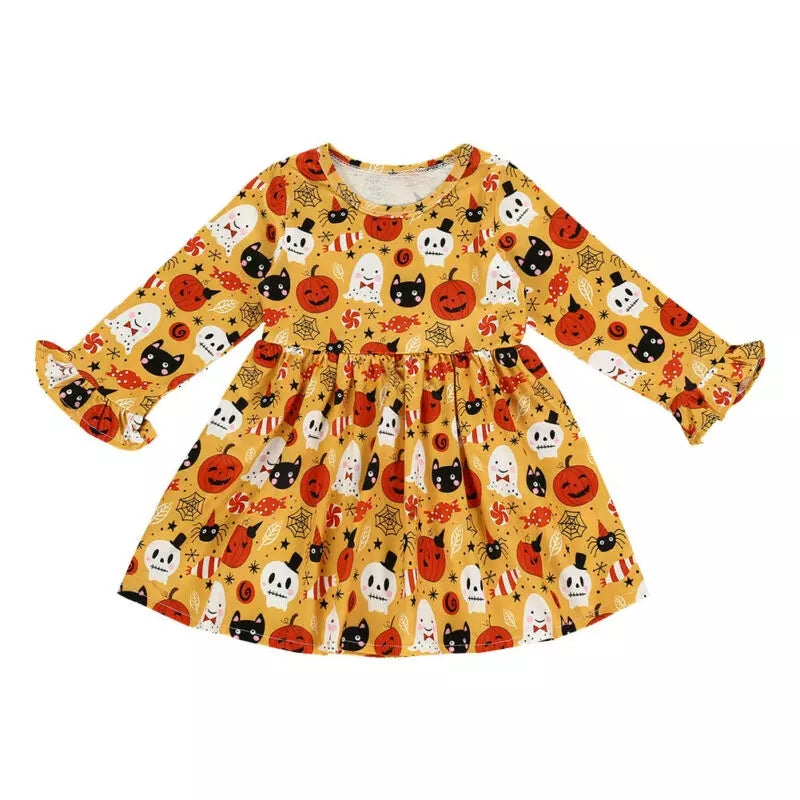 Old Timey All Hallow's Eve Print Dress